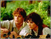 Frodo and Sam stare at the ugly nudists